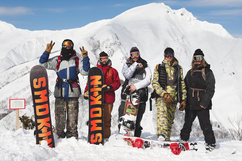 Lane Knaack, Jake Rose, Dead Lung, Kyle Clancy, and Will Bateman before hiking to get the goods.