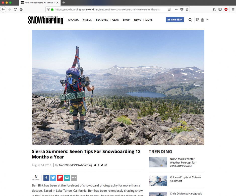 Screen shot of TransWorld Snowboarding web article about snowboarding 12 months a year in California by Ben Birk